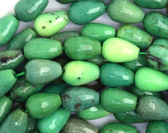 """8x12mm faceted green chrysoprase teardrop beads 15.5"""" strand 36604"""