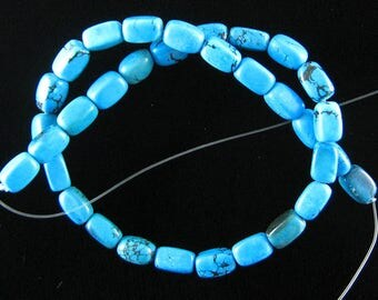 "12mm blue turquoise nugget beads 16"" strand 15852"