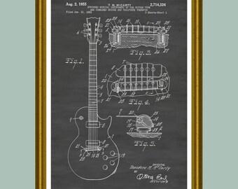 Gibson Les Paul Guitar Patent Print, Gibson Patent, Gibson Poster, Gibson Guitar Art, Les Paul Poster,  Les Paul Patent, Guitar Patent P54