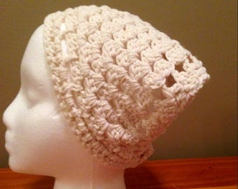 Crochet Kerchief, Hair Bandana, White with button closure