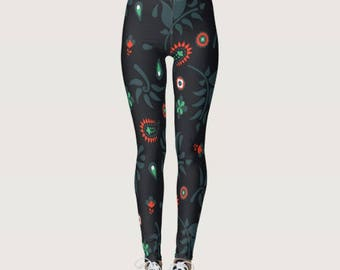 Navy and Red Indie Print Leggings