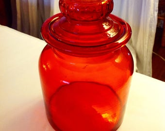 1970s Red Glass Jar Canister Retro Vintage Kitchen