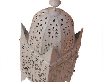 Moroccan lantern from Iron Marrakech hand forged 70 cm, white