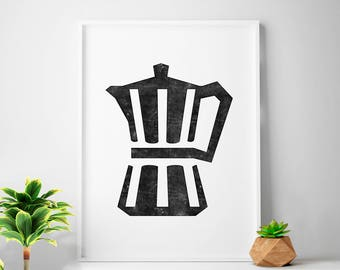 Moka, Scandinavian print, moka pot, kitchen prints, Scandinavian art, coffee pot, minimalist print, Scandi Nordic, scandi kitchen decor