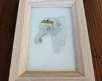 Pencil Elephant with Watercolour Jewel Crown