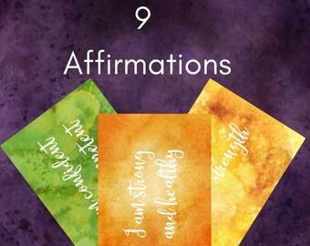 9 Positive Affirmation Cards | Printable Inspirational Cards - Affirmation Cards - Gratitude Journal - Inspirational Print