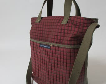 Shoulder bag made of original army pants fabric with cotton parachute band