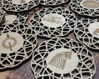 Game of Thrones Wood Coasters, Game of Thrones Decor, Game of Thrones Gifts, Game of Thrones Collectibles, Game of Thrones House Coasters