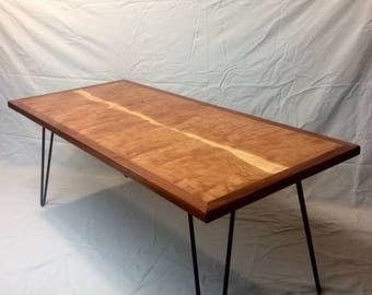 Curly Cherry Coffee Table with Hairpin Legs