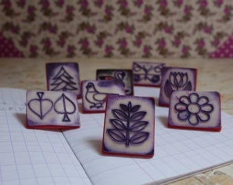 Various stamps - vintage rubber stamps - stamp to print and decorate french