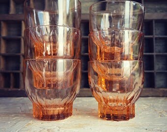glasses appetizers salmon color - vintage - 2 sets of 3 salmon pink glasses drinking glasses