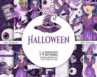 SALE 50% OFF Halloween Digital Paper Pack, Witch Watercolor Paper, Goth Glam, Cat, Purple, Black, Witch Hat, Book, Halloween, Scrapbook, Blo