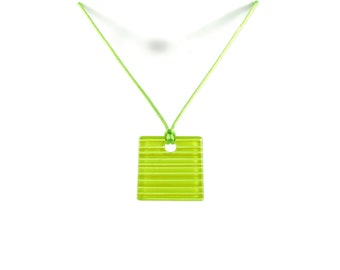 Square Pendant with Colorful Fused Glass Stripes, Lines. Necklace set with Earrings included. Colorful, Summer, Funky, Geometric, Gift Sets