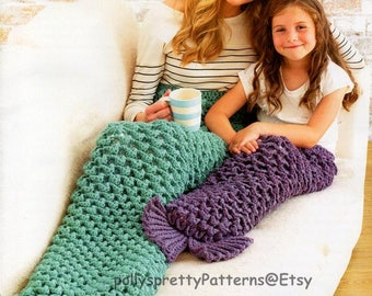 PDF Crochet Pattern - Mermaid/Fish Tail/Fish Throws or Snuggle Blankets - Childrens sizes to Adults - Instant Download