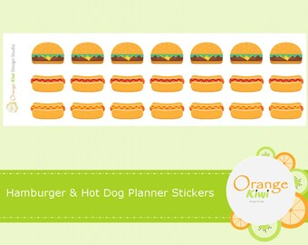 Hamburger and Hot Dog Stickers, Planner Stickers, Food Stickers