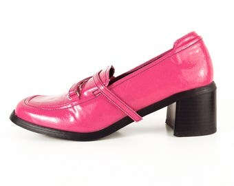 Vintage Shoes, Pink Shoes, 60s Style Shoes, GoGo Shoes, Patent Leather Shoes, Mod Shoes, Pink Loafers, Chunky Heel, Vegan, SIZE 8 M (38)