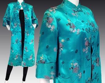 Vintage Chinoiserie Coat M L, Embroidered Coat, Turquoise Chinese Robe, Kimono, Satin Robe, Evening Coat, Embroidered Chinese Coat, SIZE M L