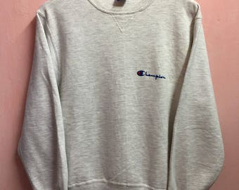 Vintage Champion Small Logo Sweatshirt embroidery Pullover Jumper Geey L