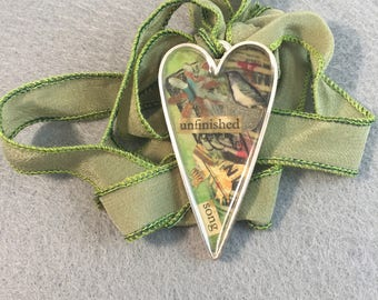 Unfinished Song Collage Heart Pendant Necklace