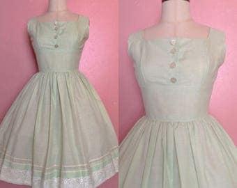 1950s Dress • 1950s Mint Green Dress