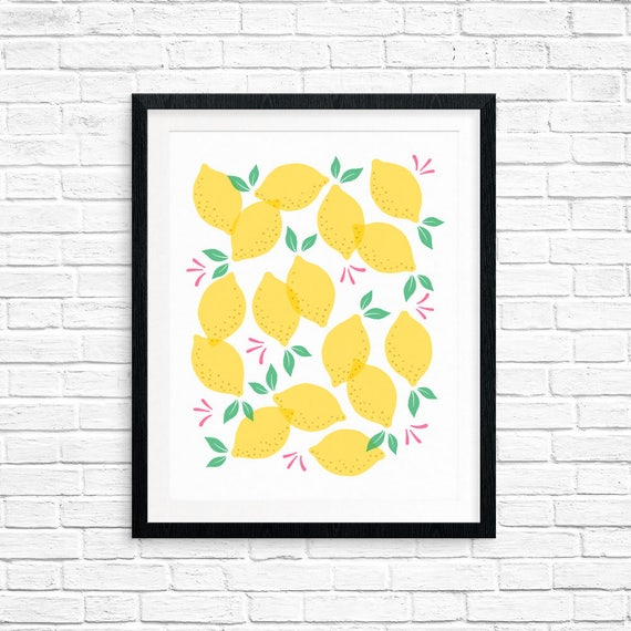 Printable Art, Lemons, Pattern, Modern Art, Minimalist Art, Art Printable, Home Decor, Digital Download Print