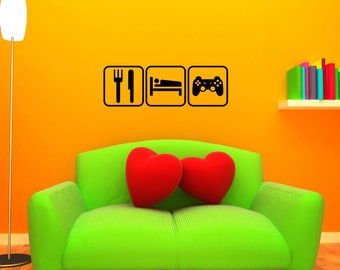Eat Sleep Video Games Decal LARGE Wall Mural Sticker XBox PlayStation Nintendo