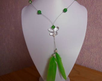 Jade Butterfly wedding necklace and feathers