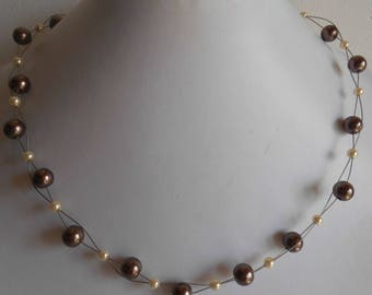 Chic twisted Brown and ivory bridal necklace