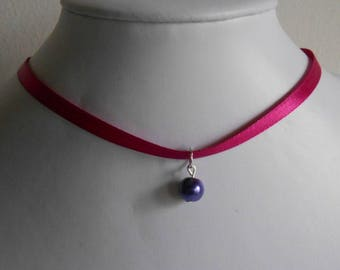 Wedding necklace adult/child pendant purple and fuchsia satin ribbon