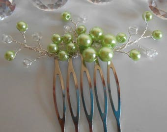Lime green beaded flowers wedding hair comb