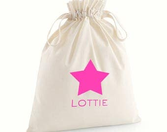 Personalised Glitter and Neon Star Gift Drawstring Bags / Christmas Gift Bag with Name