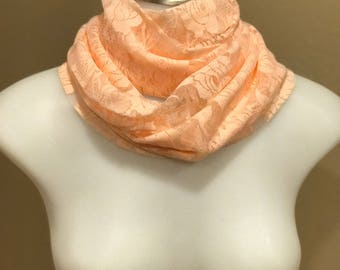 Pink lace scarf - knit scarf - pink scarf - lightweight scarf - pink infinity scarf - nude scarf - lace infinity scarf