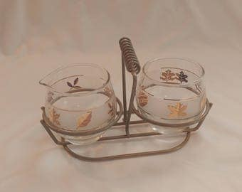 1960s Libbey Gold Leaf Frosted Lowball Drinking Glasses and Carrier