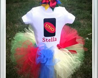 First Birthday UNO Outfit, UNO Birthday Onesie, Girls UNO Tutu Set, Four Colored Tutu, UnoOnesie, and Hairbow Sizes 9-24 Month