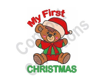 Baby Christmas- Machine Embroidery Design, My First Christmas Teddy Bear - Machine Embroidery Design