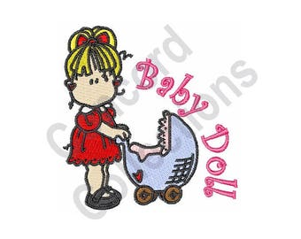 Girl With Stroller - Machine Embroidery Design, Baby Doll