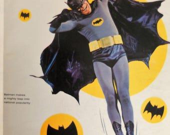 Batman art.  Life Magazine  March 11, 1966.  Cover only.  Batman TV program.  Adam West.  1966 Batman TV program.