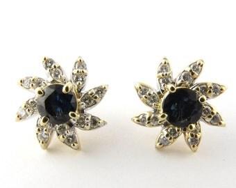 Vintage 14 Karat Yellow Gold Sapphire and Diamond Earrings #1950