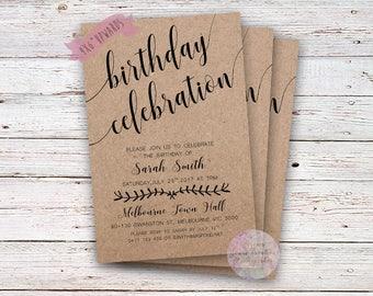 Birthday Celebration Invitation, 4x6,5x7,Digital,Printable,Men,Women,Birthday Party,Invitations,Country,Kraft Invite,Rustic Birthday,Custom