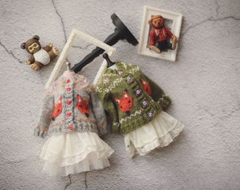 """Blythe handmade sweater """"the love knot of the fox""""/handmade/knitting/vest/outfit/clothe/licca"""