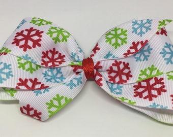 White Multi Color Snowflake Bow