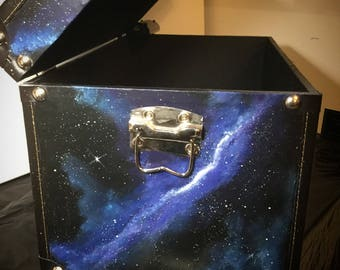 Galaxy Chest / Box Blue Galaxies Stars Large/ XL Outerspace Storage Cosmic  Art Nebula Planets