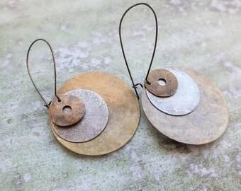 Boho earrings-Hand hammered earrings-Disc drop metal earrings -Gift for Her - Statement Earrings