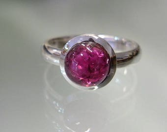 Pink Tourmaline Silver Ring , ring Size N 1/2