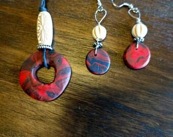 Beaded choker necklace and earrings handmade