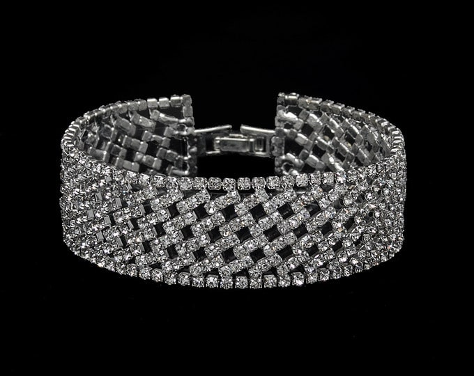 Andrea Clear Crystal Competition Bracelet for IFBB, NPC, and NANBF Bikini Fitness Bodybuilding Contests
