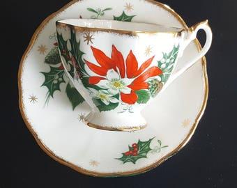 "Vintage ,Queen  Anne, "" Noel"",Teacup & Saucer, Tea Cup, Floral, England, Bone China, Christmas Tea Party,gold trim,"