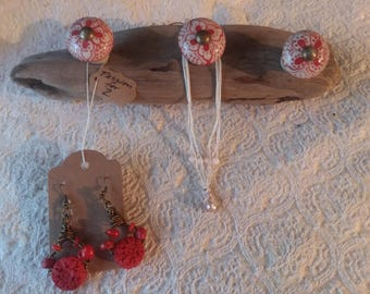 Driftwood & Hand painted Pottery Jewelry Holder