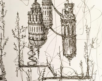 Domes | Pen and Ink Drawing | Original Art