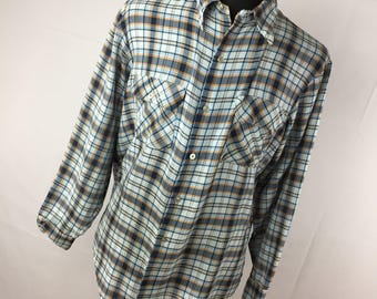 Vintage Big Mac JcPenney L Large 16 16.5 Shirt Plaid Button Down front Blue Orange Permanent Press Long Sleeve V5